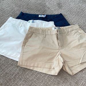 Old navy lot of chino shorts 4 navy white khaki